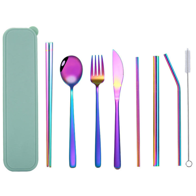 Shenone Multicolor Stainless Steel Spoon Fork Knife Cutlery Set