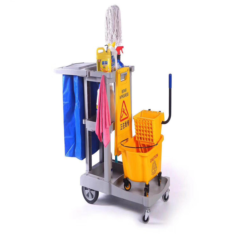 Shenone Industrial Hotel Cleaning Trolley Janitor Cleaning Service Trolley Cart Cleaning Trolley
