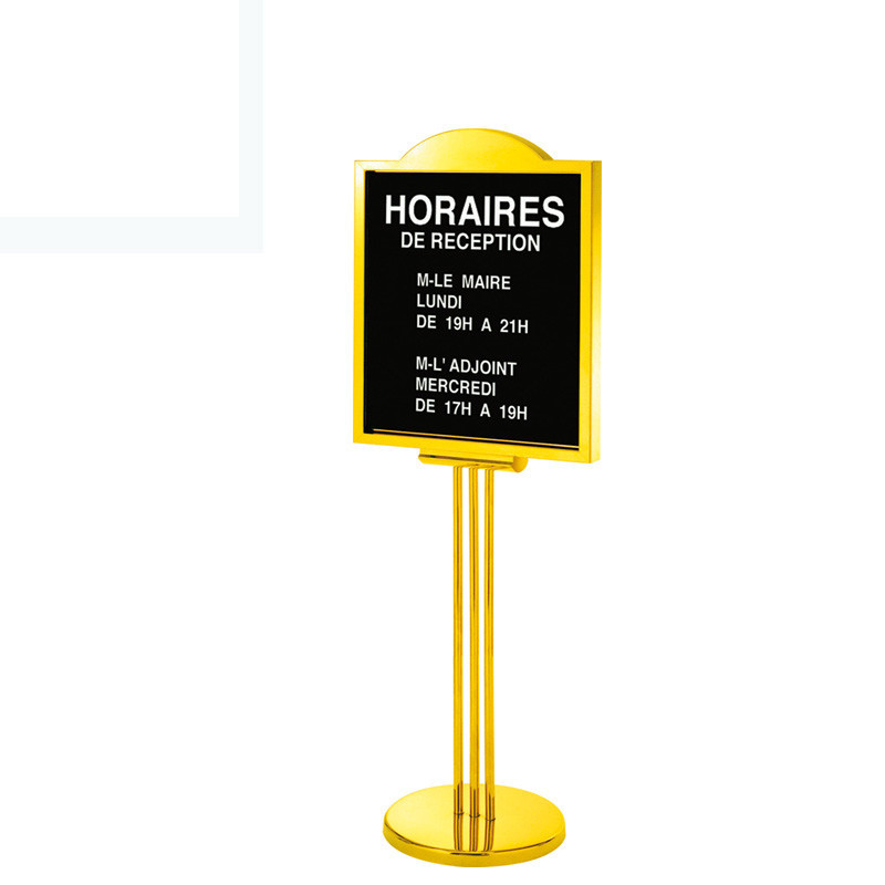 Shenone Hotel Stainless Steel Gold Display Sign Stand